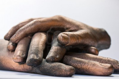 three-bronzed-hand-sculpture