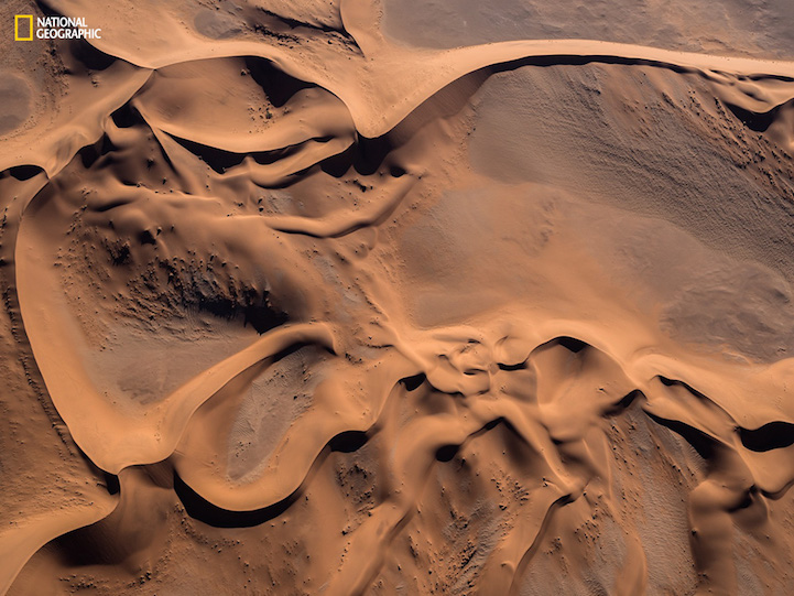 This aerial shot was taken from a small plane over Namib desert, Namibia
