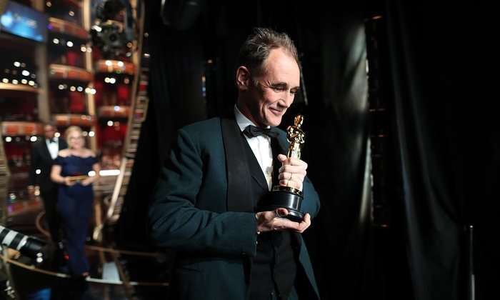 Mark Rylance leaves the stage after winning the best supporting actor Oscar for Bridge of Spies Photograph: Christopher Polk/Getty Images