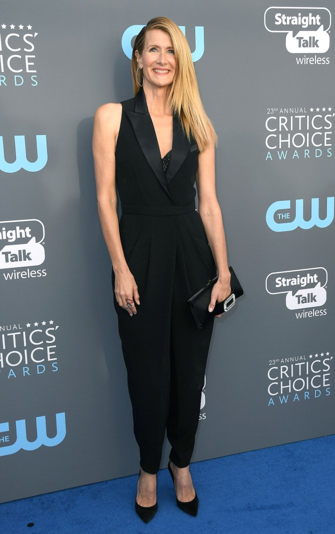 SANTA MONICA, CA - JANUARY 11:  Actor Laura Dern attends The 23rd Annual Critics' Choice Awards at Barker Hangar on January 11, 2018 in Santa Monica, California.  (Photo by Steve Granitz/WireImage)