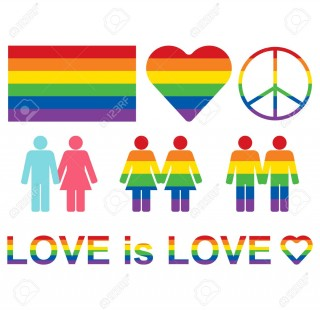 Rainbow LGBT rights icons and symbols. LGBT figures and heterosexual couple.